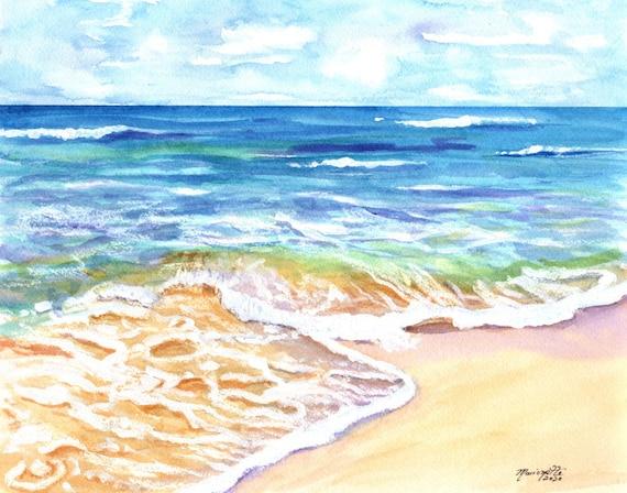 Ocean Print, Ocean Waves, Beach Art, Kauai Ocean, Hawaii Decor, Hawaiian Beaches, Ocean Wall Art, Poipu Beach, Ocean Decor, Sea Foam