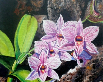 Orchids with Lava Rocks 8x8  Art Print from Kauai Hawaii by Marionette purple green grey violet