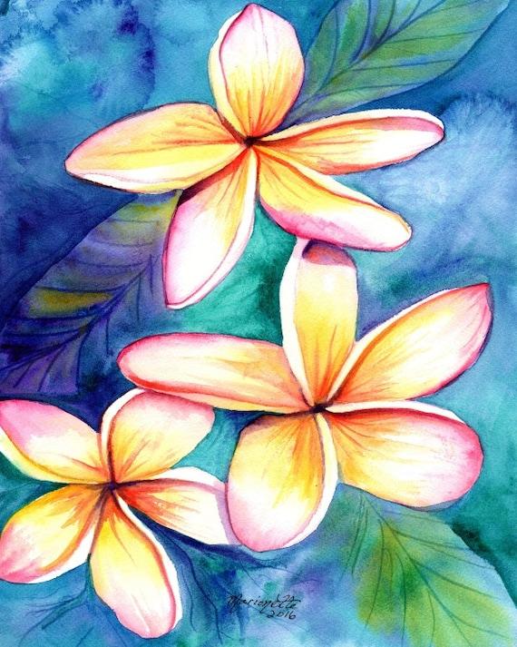 Plumeria print from Kauai Hawaii frangipani hawaii art kauaiartist Hawaiian art Kauai art tropical flowers