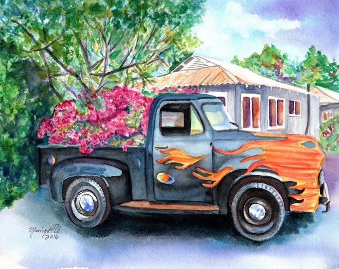 pickup truck print, kauai art, hanapepe truck, kauai art print, classic truck, truck with flames Hawaii art, gifts for him, kauai artist