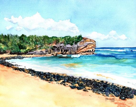 Shipwrecks Beach Kauai, Shipwreck beach, poipu beach kauai, kauai decor, Hawaiian seascape, Shipwreck's Kauai, Kauai Painting, Kauai Art