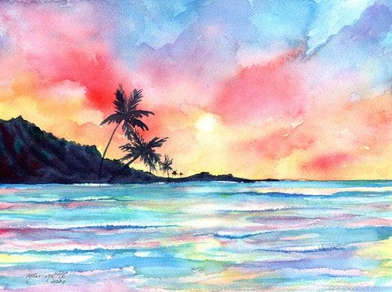 Sunset Beach Painting Original Watercolor Hawaiian Sunset Palm Trees Tropical Hawaii Art Kauai Painting Seascape Sunset Wall Art