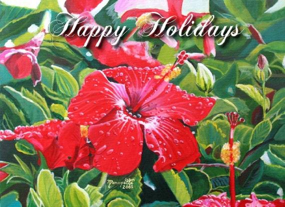 Hawaiian Red Hibiscus - Printable PDF Christmas Card - Happy Holidays DIY Greeting Cards -  Kauai Hawaii Mele Kalikimaka Christmas Cards
