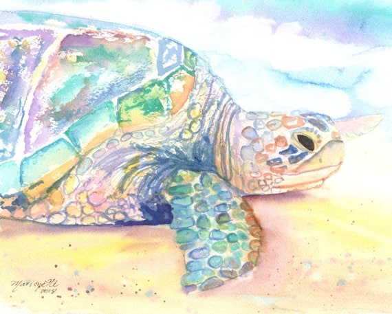 Sea Turtle Art Print,  Kauai Art, Turtle Painting, Hawaiian Honu Paintings, Childrens Wall Art, Ocean Sea Decor, Animal Prints, Beach Art