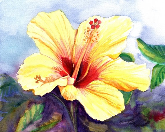 yellow hibiscus art print, hawaii prints, hawaiian art, hibiscus paintings, kauai maui oahu,  hawaiiana, tropical flowers, aloha