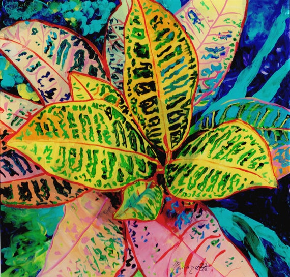 Tropical Art, Croton Painting, Acrylic Croton Art, Croton Plant, Hawaii Art, Made in Hawaii, Tropical Plant, Colorful Leaves, Kauai Art