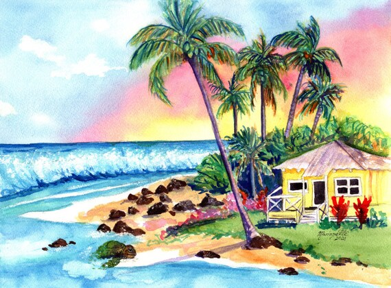 Cottage on the Beach, original watercolor,  Plantation Cottages, Kauai Art, Hawaii Decor, Tropical House, Coconut Palm Trees, Hawaiian