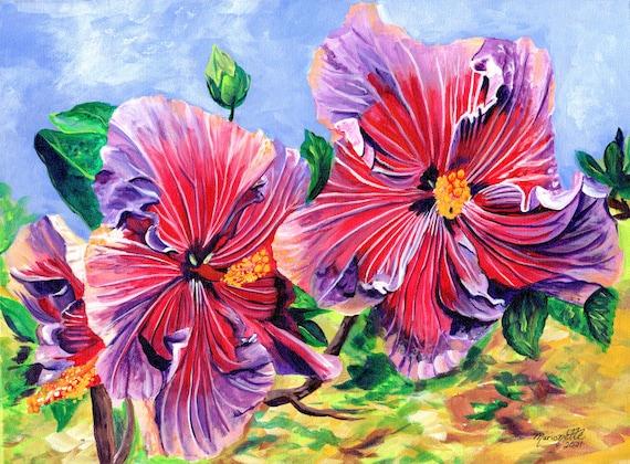 hibiscus art print,  hibiscus painting,  hawaii art, hawaiian paintings, hot pink hibiscus, tropical flowers, Kauai Hawaii Maui Oahu Decor