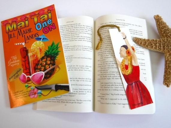Hula Girl Bookmark, Watercolor Bookmark, Handmade Bookmarks, Book Lover, Hula Halau Gift, unique bookmark, book marker, summer reads, aloha