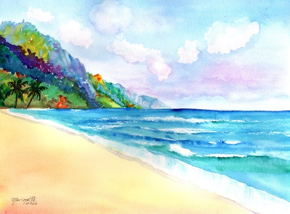 Kauai Kee Beach Original Watercolor by Marionette Taboniar from Kauai Hawaii  Ke'e Beach Art Hawaiian Painting Kauai Decor
