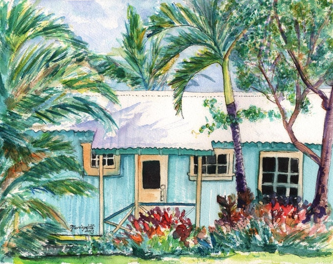 tropical plantation house kauai print paintings of houses kauai art hawaiian wall art cottage art work teal aqua kauaiartist