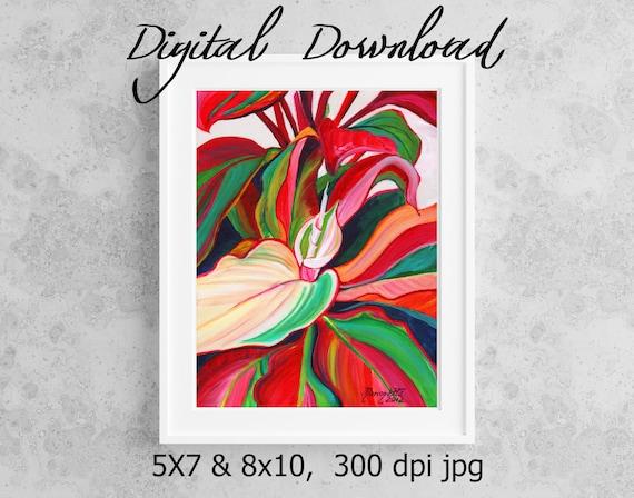 Red Ti Leaves Print, Printable Wall Art, Downloadable, Hawaii Decor, DIY Prints, Hawaiian Art, Colorful Ti Leaves, Kauai Art, Print it out