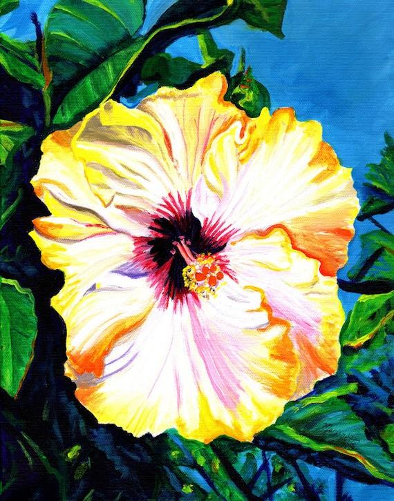 Yellow Hibiscus Art Print, Hibiscus Flower, Hibiscus plant, hawaiian art, hibiscus painting, kauai maui oahu, hawaiiana, tropical flowers