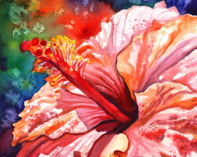 hibiscus art prints, hibiscus print, hawaiian art,  pink hibiscus, hibiscus paintings, kauai maui oahu,  hawaiiana, tropical flowers
