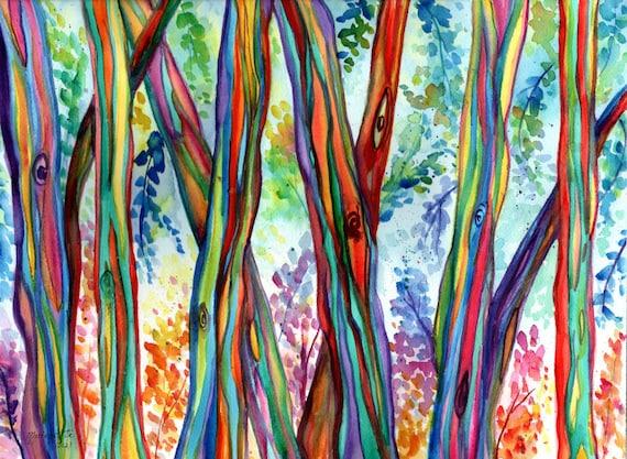 Rainbow Eucalyptus Tree, Watercolor Print, Hawaiian Trees, Kauai Hawaii Wall Decor, Eucalyptus Forest, Colorful Trees, Tropical Wall Art