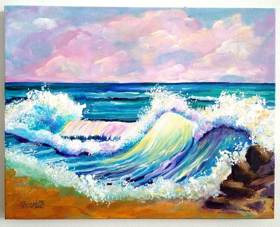 Crashing Waves at Poipu Beach Original Acrylic Painting 11x14 Kauai Art Hawaii Wall Decor Beach Art Seascape