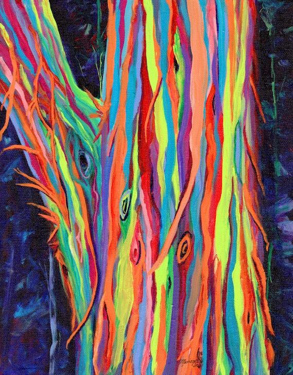 Rainbow Eucalyptus Tree, Kauai Trees, Original Acrylic Painting, Hawaiian Art, Hawaii Painting, Colorful Trees