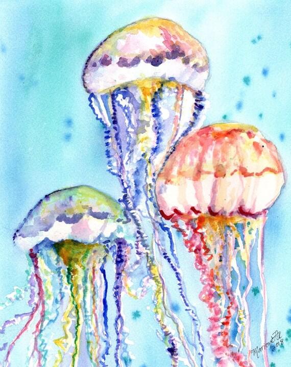 jelly fish original watercolor, jelly fish painting, hawaii art, Hawaiian art, under the sea art, ocean decor, kid watercolor, kids wall art