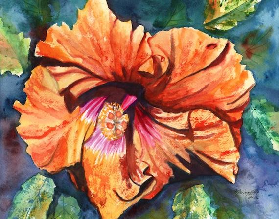 Hibiscus painting, Hawaii art, Orange Hibiscus print, Hibiscus flower art, Tropical art, Tropical flower, Hawaiian art, Hawaii art work