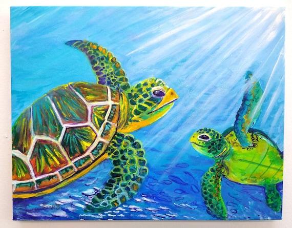 Sea Turtle Wall Art, Sea Turtle Original Painting, Turtle lovers, Honu Hawaiian Turtles, Nursery art, Ocean decor, Under the sea, aloha art