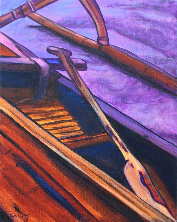 Hawaiian Koa Canoe - Hawaiian Print - Kauai Art - Hawaiian Paddling - Hawaii Voyaging Art - Outrigger Canoe - Hawaiian Paddlers