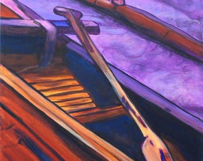 Hawaiian Koa Canoe - Hawaiian Print - Kauai Art - Hawaiian Paddling - Hawaii Voyaging Art - Outrigger Canoe - Hawaiian Paddlers