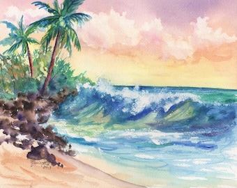 Crashing Waves at Sunrise 8x10 print from Kauai Hawaii blue green teal sand tropical sunrise palm tree pink