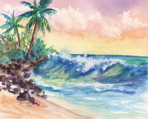 Beach art, Seascape print, ocean wave, kauai art, hawaii art, palm trees, ocean paintings, Hawaiian decor, Hawaiian design, tropical art