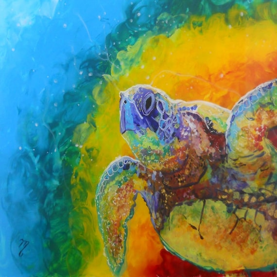 Sea Turtle Prints, Hawaiian Honu, Ocean Art, Sea Turtle, Rainbow Turtles, Kids Room Art, Turtle Painting, Hawaii art