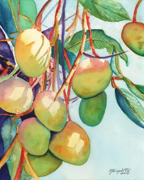 Mango art, mango print, mango painting, Kauai art, Hawaii art, tropical fruit, Hawaiian painting, pink green sky blue orange mangoes