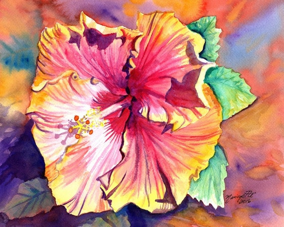 Tropical Hibiscus print, Hawaiian art,  orange hibiscus, hibiscus art, kauai art print,  kauai paintings, hawaiiana, kauaiartist
