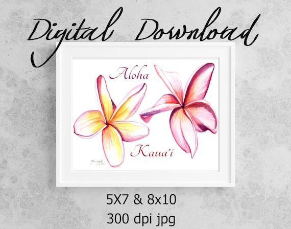 Plumeria Flowers Print, Printable Wall Art, Downloadable Art, Hawaii Quotes, DIY Prints, Hawaii Plumeria Decor, Frangipani, Aloha Quote
