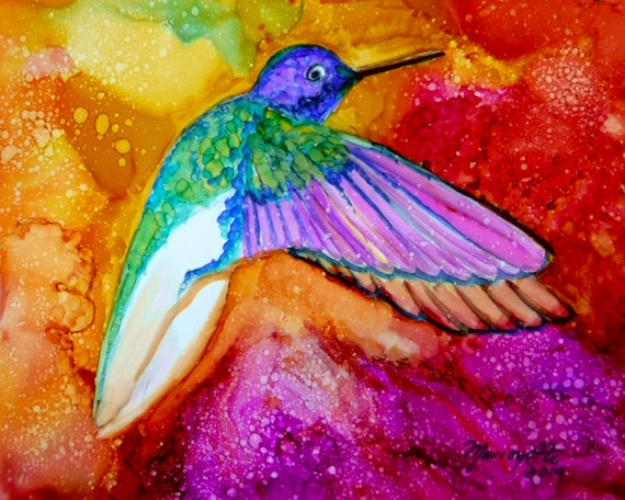 Hummingbird art print gift bird decor nursery wall art hummingbird painting  flying hummingbird decor alcohol ink print colorful bird