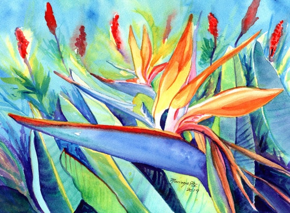 Bird of Paradise Art, Bird of Paradise Watercolor, Hawaii Decor, Kauai Art, Original Hawaiian Painting, Bird of Paradise Flower, Oahu Maui