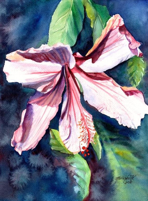 hibiscus art, hibiscus print, hawaiian art, pink hibiscus blossom, hibiscus painting, Hawaii Art, hibiscus plant, tropical flower, Kauai art