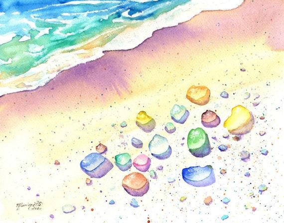 Sea Glass Art, Beach Glass, Sea Glass Watercolor Print, Beach Glass Decor, Beach Art, Hawaii Decor, Whimsical Sea Glass, Ocean Theme Decor