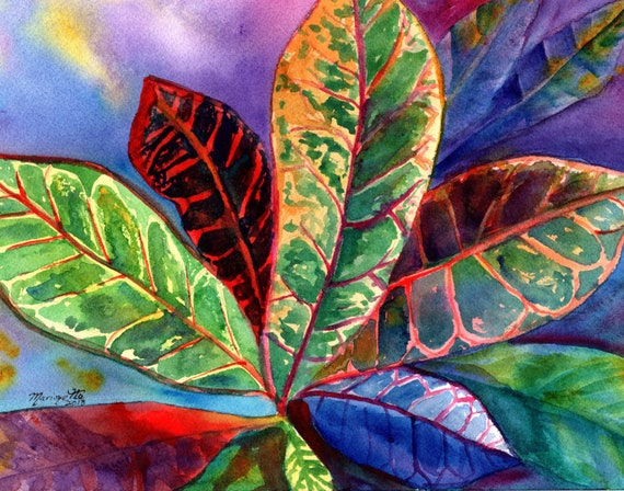Croton Art Print, Hawaii Art, Tropical Decor, Croton Painting, Colorful Leaves, Hawaii Wall Art, Croton Plant