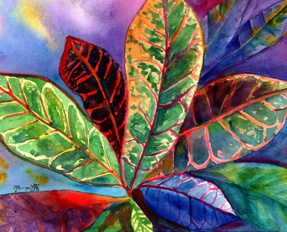 Croton Plant Original Watercolor Painting