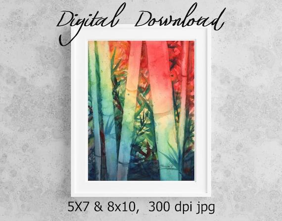 Bamboo Print, Printable Wall Art, Downloadable Art, Poster Art, DIY Prints, Asian Bamboo, Hawaii Decor, Colorful Bamboo, Watercolor Bamboo