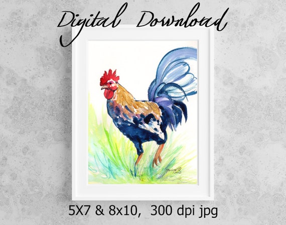 Rooster Print, Printable Wall Art, Downloadable Art, Poster Art, DIY Prints, Chicken Art,Kauai Rooster, Colorful Rooster, Print it from home