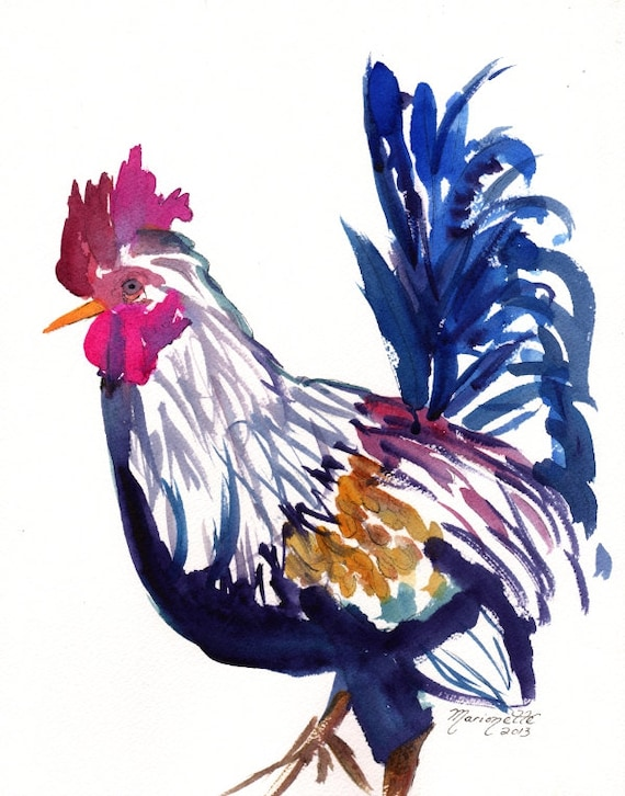 rooster art prints, chicken art prints, kauai rooster art, chicken paintings, sumi rooster art, kitchen decor