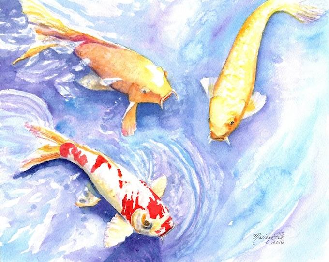 Koi art prints 8x10, koi fish art, asian koi paintings, koi pond, orange koi, yellow koi, gifts for him, Japanese koi, feng shui art