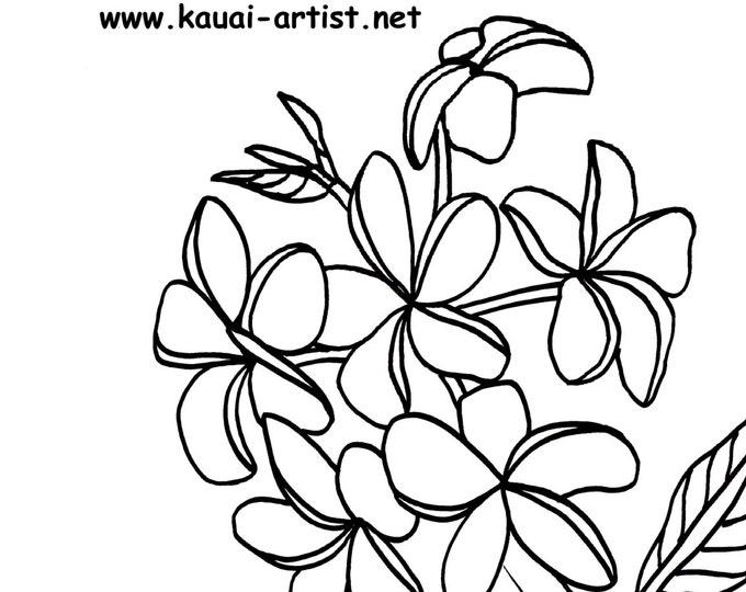 Coloring Book Tropical Flowers of Kauai Instant Download DIY Printable PDF