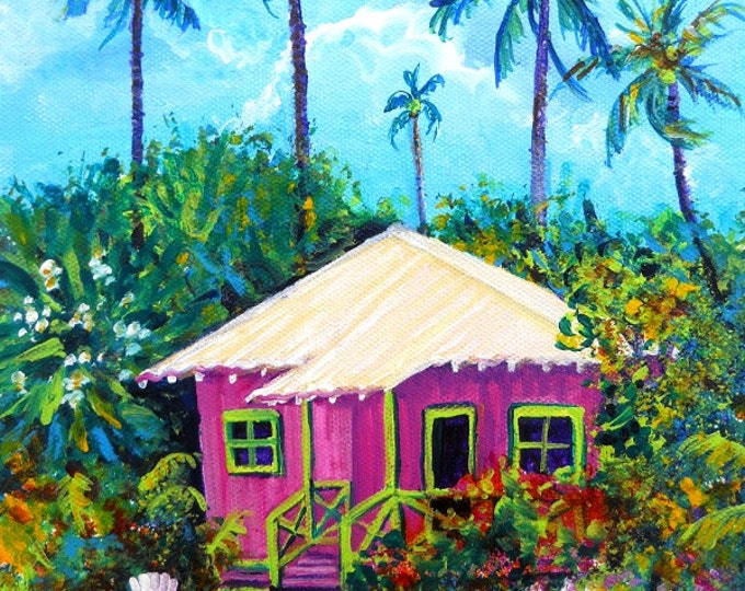 Pink Plantation Cottage,  Kauai Print, Kauai Cottages, Pink Houses, Plantation House, Hawaii art, Hawaii Painting, Whimsical Cottage