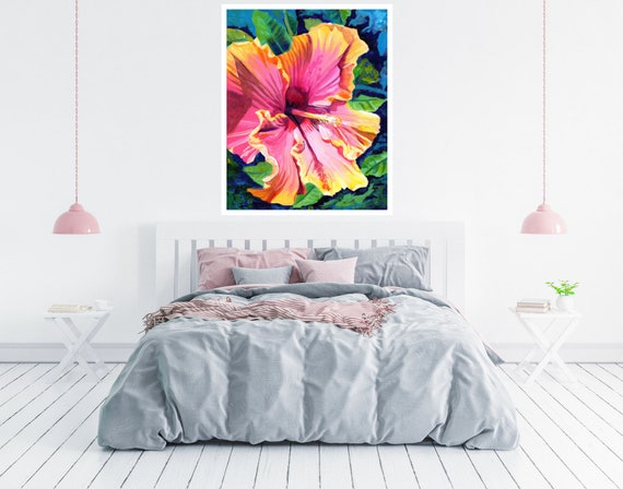 Tropical Bliss Hibiscus Large Art Print 16x20 18x24 24x30 Hawaiian Art Kauai Art Hawaiian Decor Hawaii Art Print Flower