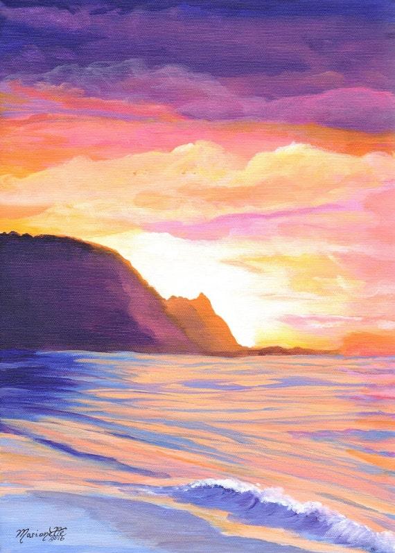 Kauai Print, Kauai Art, Na Pali Coast Print, Bali Hai, Kauai Mountains, Kauai Painting, Kauai Gift, Kauai Wall Decor, Kauai Seascape