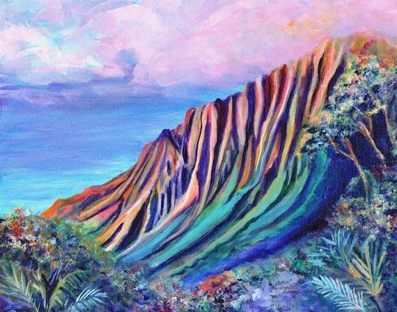 Kalalau Fantasy, Kalalau Valley Print, Hawaii Art Print, Kauai Painting, Kauai Art, Hawaii Wall Art,  Kalalau Trail, Hawaii Painting, Kokee