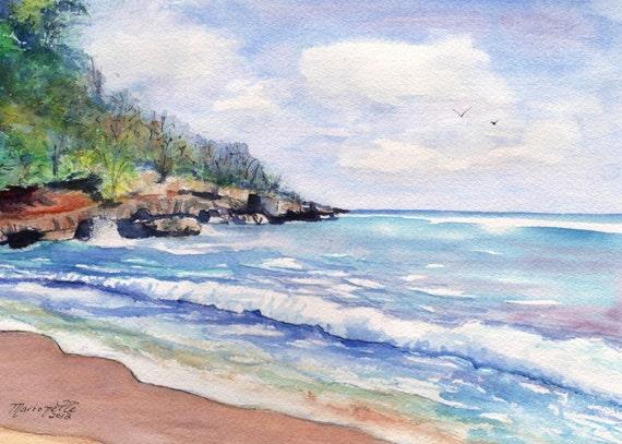 Kauai Beach - 5 x 7 Art Print - Mahaulepu Beach - Kauai Hawaii - Tropical Seascape Art - Kauai Ocean Print - Watercolor Print - Home Decor
