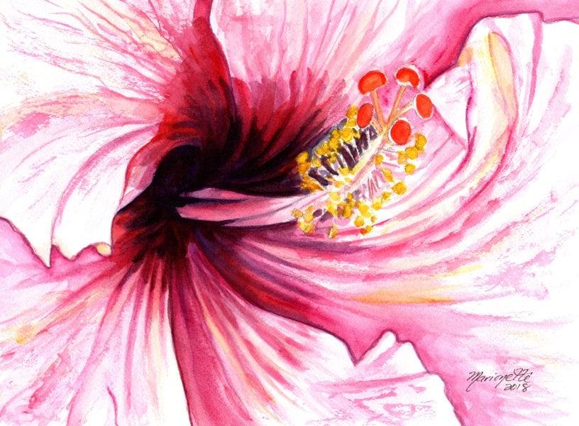 hibiscus painting pink hibiscus art hibiscus decor hawaii art ...