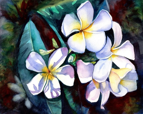 Plumeria print, Plumeria Art, Hawaii painting, Hawaiian art, Hawaii decor, Frangipani art, Tropical flowers, White Plumeria, Tropical flower